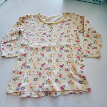 黄色に花もよう長袖シャツA100