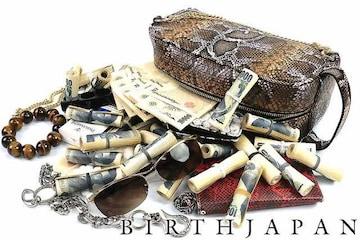 チェーン付き 蛇革 PUセカンドバッグ クラッチバッグ ■オラオラ ヤクザ 15015 茶