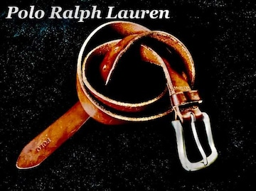【POLO】ラルフローレン Vintage レザーベルト 36/Brown