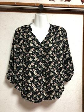 MEW'Sミューズ七分袖花柄ブラウス黒ブラックMスキッパーシャツ