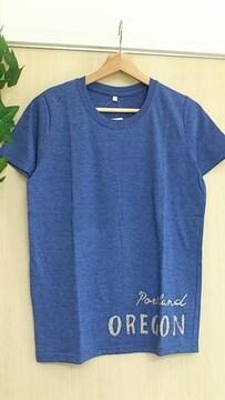 """""""カラーが目を引く""""新品タグ付*裾英字ロゴ半袖Tシャツ Lサイズ ブルーパープル"""