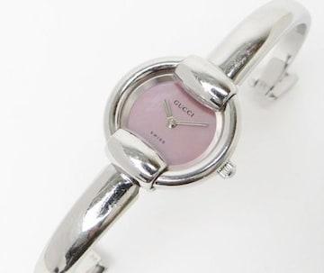 グッチ 1400L クオーツ レディース時計 バングルウォッチ SS×ピンクシェル文字盤