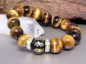 守り本尊梵字オニキス12タイガーアイ12金ロンデル数珠