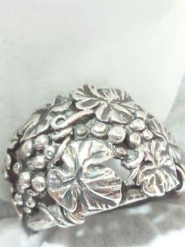 【シルバーブランド】925 SILVER 植物 蔓 彫刻 シルバーリング 17号