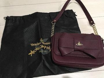 ヴィヴィアンウエストウッドアングロマニアバッグボルドーリボンワンショルダー保存袋付
