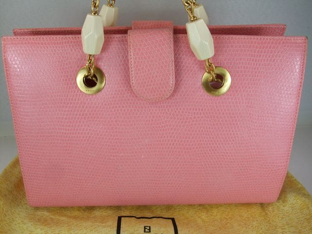 フェンディ型押レザーハンドバッグ ピンク < ブランドの