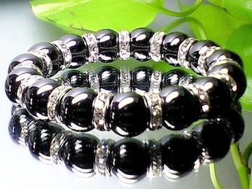 成功・勝負運数珠◆強力磁気有ヘマタイトAAA12ミリ銀色ロンデル