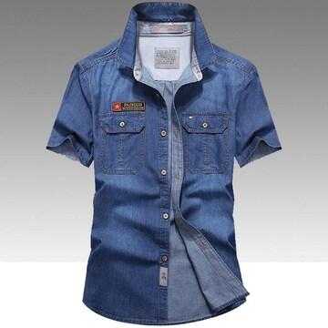 メンズシャツ  ワイシャツ ビジネスシャツデニム S~4XL/AK291