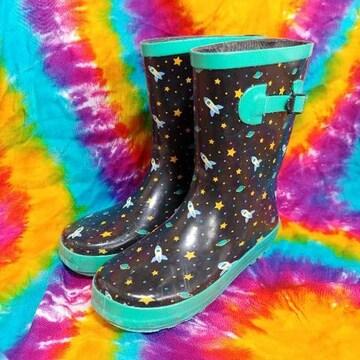 激カワッ(^ω^)宇宙柄×長靴□レインブーツ□23cm