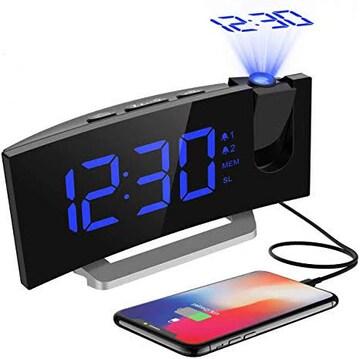 デジタル時計 目覚まし時計 天井投影 大型LED FMラジオ 電源式