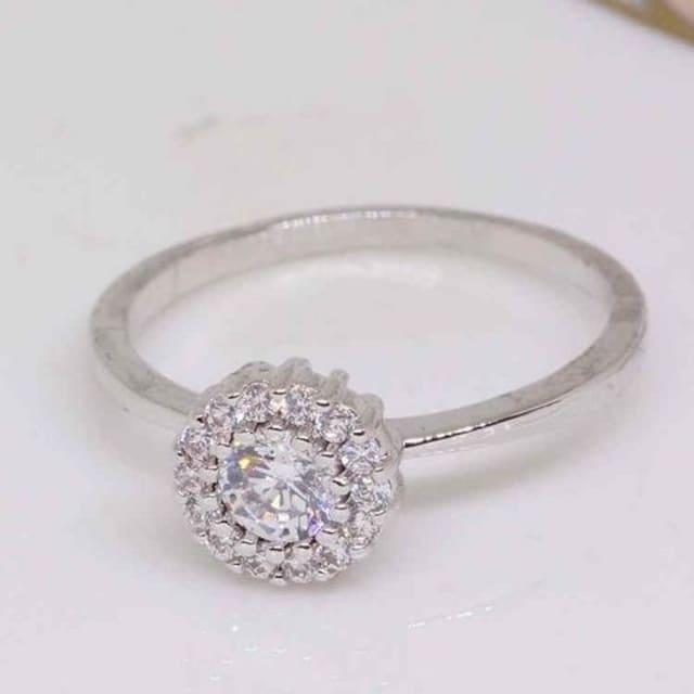 指輪18KRGPプラチナ高級CZ太陽花上品リングyu1039e < 女性アクセサリー/時計の