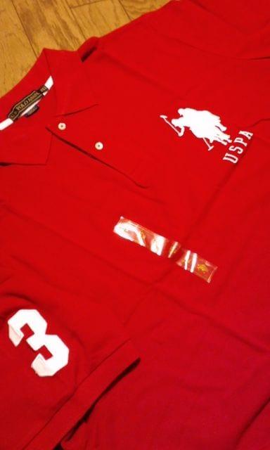 US.POLOビッグポニーデザインカノコ半袖ポロ 赤XXXL 3XL4XL位 < 男性ファッションの