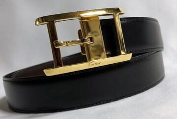 正規美 Cartierカルティエ アルディロン タンク ゴールドバックルベルト黒×茶 75調節