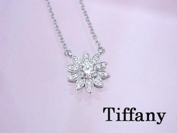 贈り物に Tiffany Pt950 ダイヤモンド フラワー ペンダント ネックレス★dot