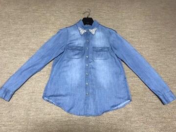 リエンダ★デニム ブラウス★パール ビジュー襟ダンガリーシャツ