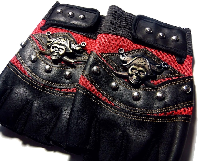 スカル 海賊 パイレーツ フィンガーレス レザーグローブ 半指 手袋 赤色 < 自動車/バイク