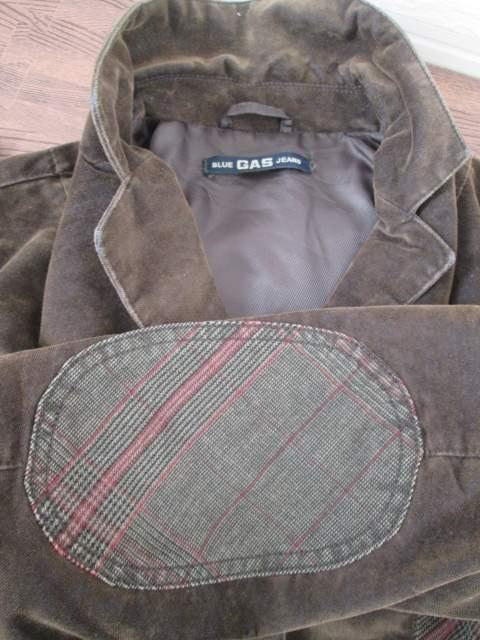 美品即決/BLUE GAS JEANS/スエードタッチチェックジャケット茶XS < 女性ファッションの