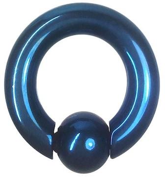 ステンレスボディピアス 2G 内径16mm ボール10mm ブルー