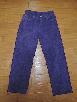 ハリウッドランチマーケット HRM 厚手カラー パンツ30紫ハリラン