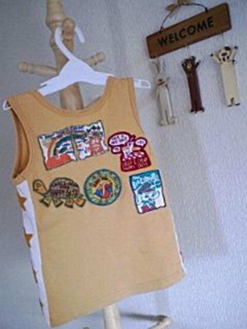 ラフ&チープランニングシャツSサイズカラシ色 < キッズ/ベビーの