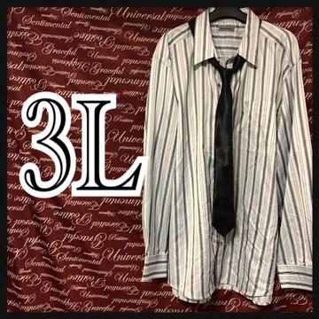 3L・ネクタイ付きツヤストライプシャツ新品白/MC03P403-004