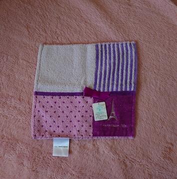 新品・タグ付 marie claire タオルハンカチ・紫