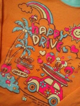 新品同様ミニKオレンジのラメプリント長袖Tシャツ110