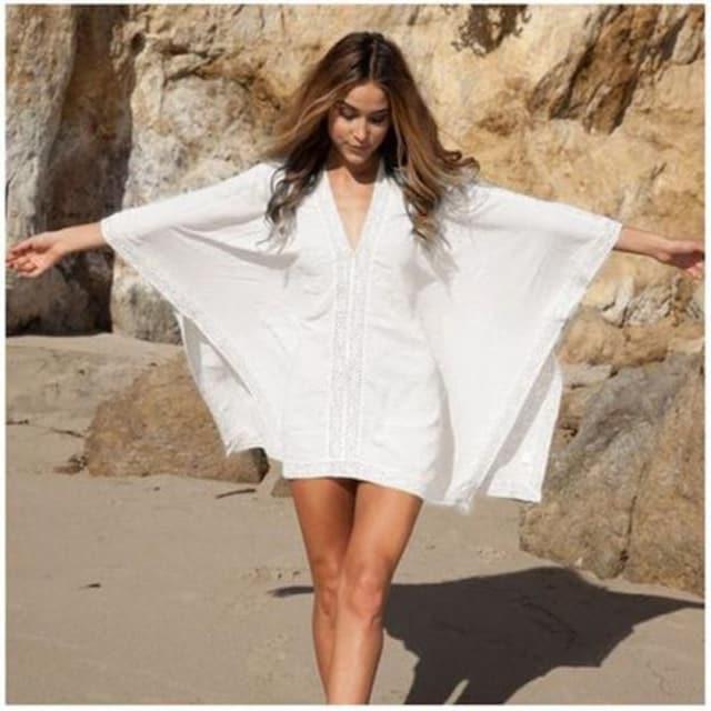 【羽織度抜群!】水着 ブラウス ホワイト 【今大人気◎】 < 女性ファッションの