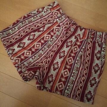 アジアン 民族 ボヘミアン ショートパンツ 赤 フリーサイズ