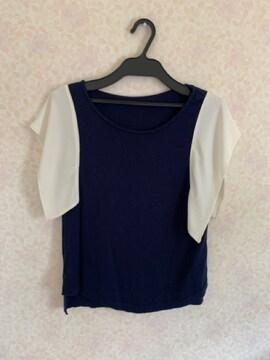 ビアージュ日本製シルク入り肩シフォンカットソーネイビーM