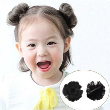 新品【7364】子供用簡単お団子ウィッグ2個セット【自然な黒】