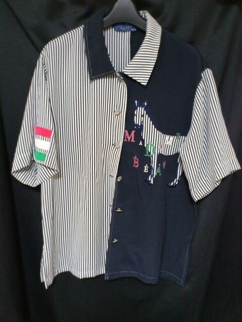 セール80s レア ゼブラ × イタリア 風 デザイン シャツ  < 女性ファッションの