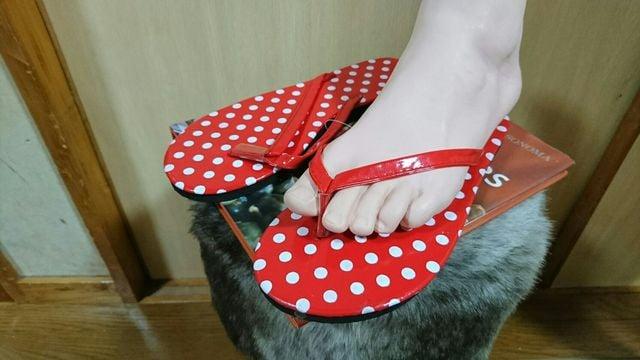 赤×白 ドット柄 ビーチサンダル   < 女性ファッションの