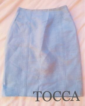 TOCCAトッカ【新品同様】シルクタイトスカート ジーンズブルー