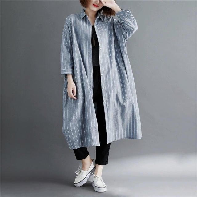 シャツブラウス ひざ丈 ストライプ柄 7分丈袖 大きいサイズ < 女性ファッションの