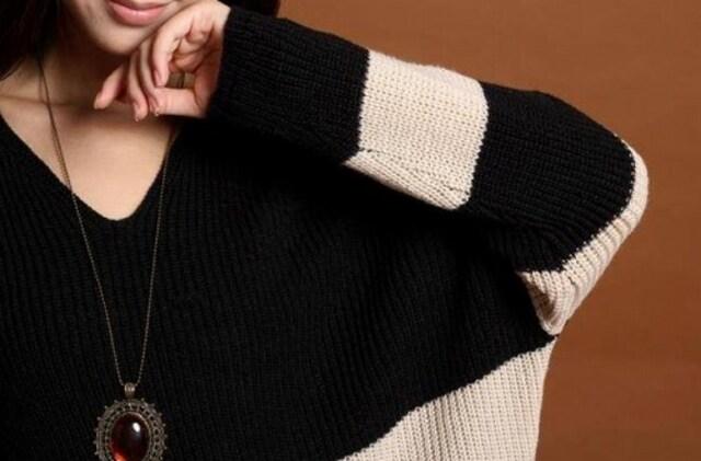 再入荷1890円★ベストセラー 可愛いボーダーセーター黒白M < 女性ファッションの