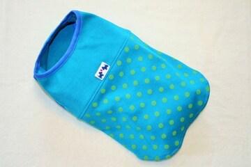 水玉ノースリーブTシャツ胴45cm(ブルー)