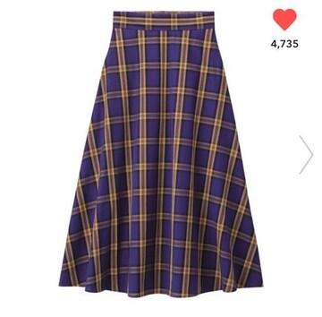 GU・パープルイエローチェック柄フレアロングスカート。XL