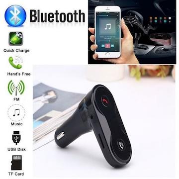 Bluetooth FMトランスミッター 音楽 電話 スマホ SDカード 黒