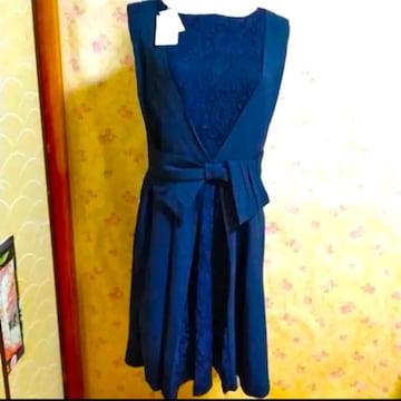 新品 華やかなドレス 結婚式 二次会 同窓会 普段着など M 紺色