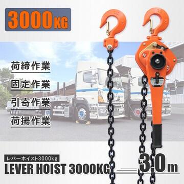 レバーホイスト 最大能力3.0t(3000kg) / チェーンホイスト