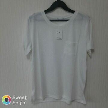 新品 M シンプル ポッケ付 半袖 Tシャツ カットソー 丸首