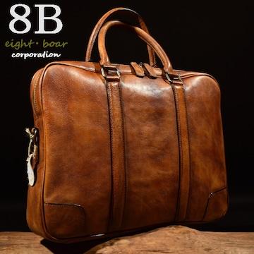 ◆牛本革 ムラ染め ダブルZIP 2WAYビジネスバッグ◆茶k19