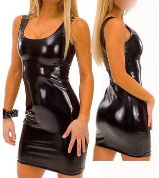 ボディコン ミニドレス コスプレ 衣装 レディース 光沢 ブラック