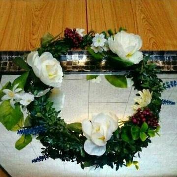 30cm 木の実 薔薇 ハンドメイド オリジナル リース 花 造花 実