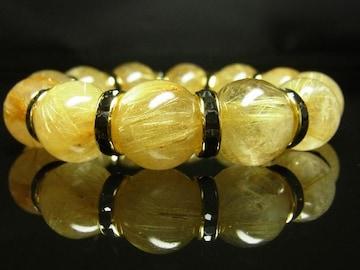 金運アップ数珠 タイチンルチルブレスレット 16mmパワーストーン 金針水晶