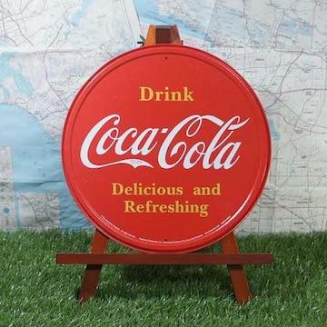 新品【ブリキ看板】Coca-Cola/コカ・コーラ Drink 丸型