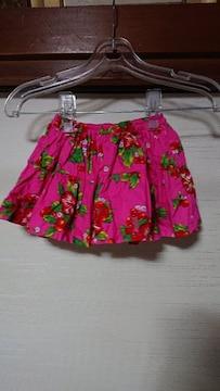 美品 ハイビスカス ギャザ—スカート ピンク 90