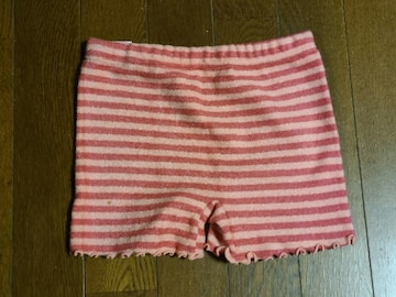送料無料/冷え性の方にオススメ可愛いピンクボーダー毛糸のパンツM-L未使用