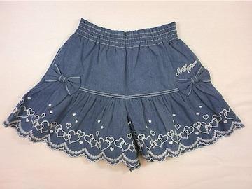 値下げ処分メゾピアノハートスカラップ刺繍ダンガリーキュロットスカート